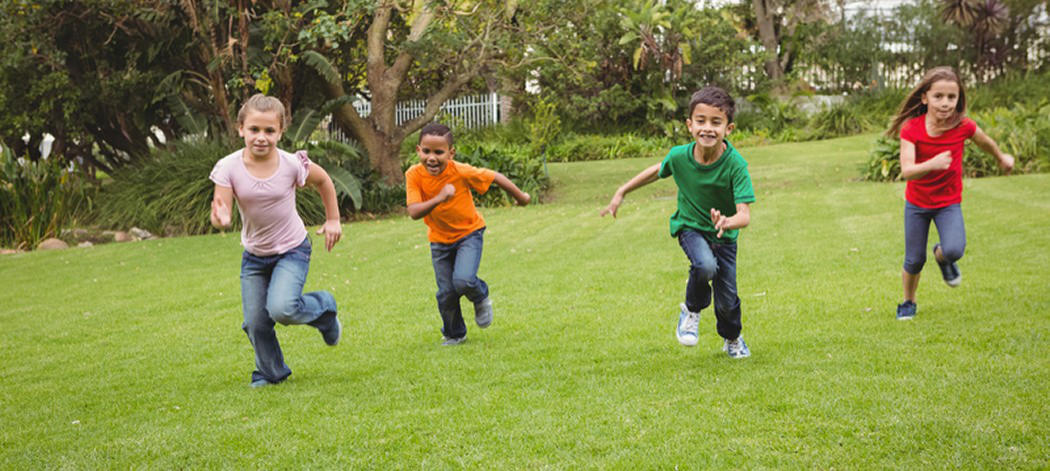 Background image of children running